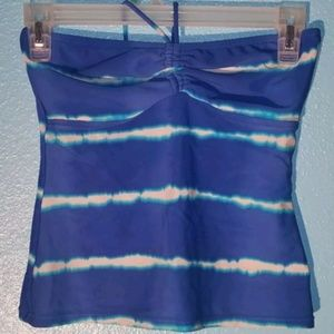 Ralph Lauren Tankini S Blue Striped Swim Halter